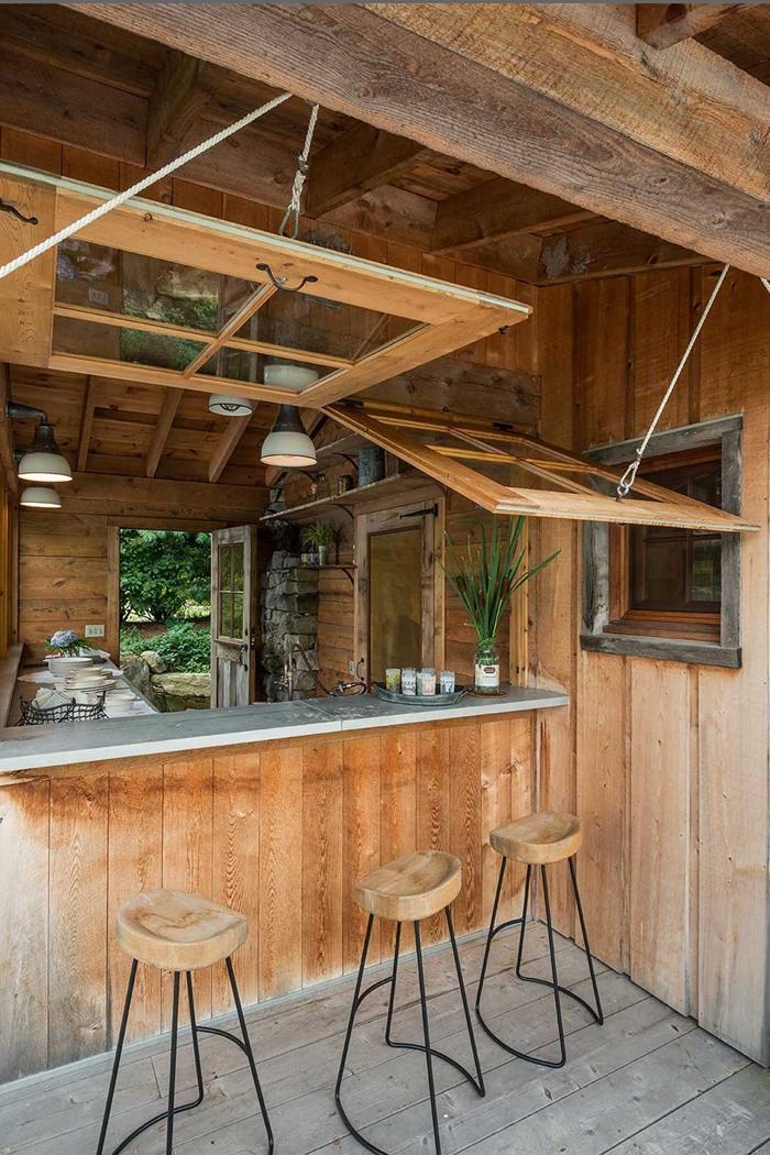 décoration petite cuisine couverte cour arrière jardin tabouret de bar bois et métal plan de travail exterieur cuisine avec bar