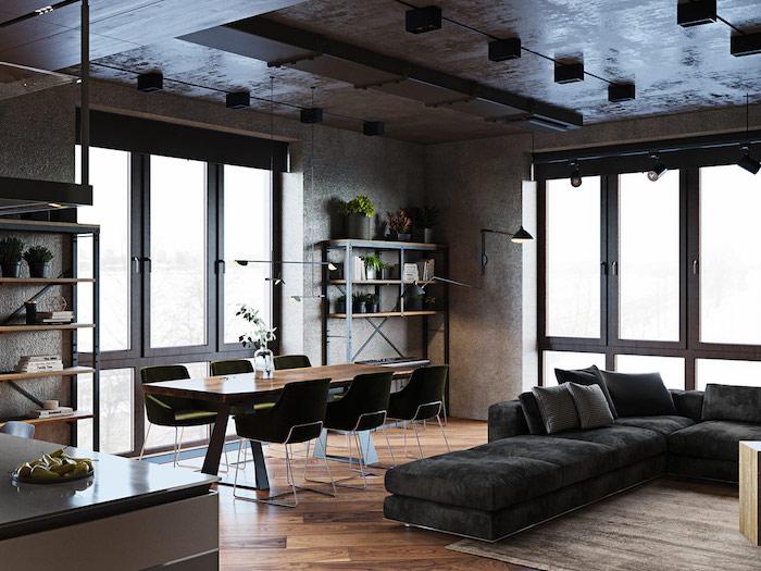 décoration plafond salon inspiration plafond noir étoilé canapé en angle noir long table a manger