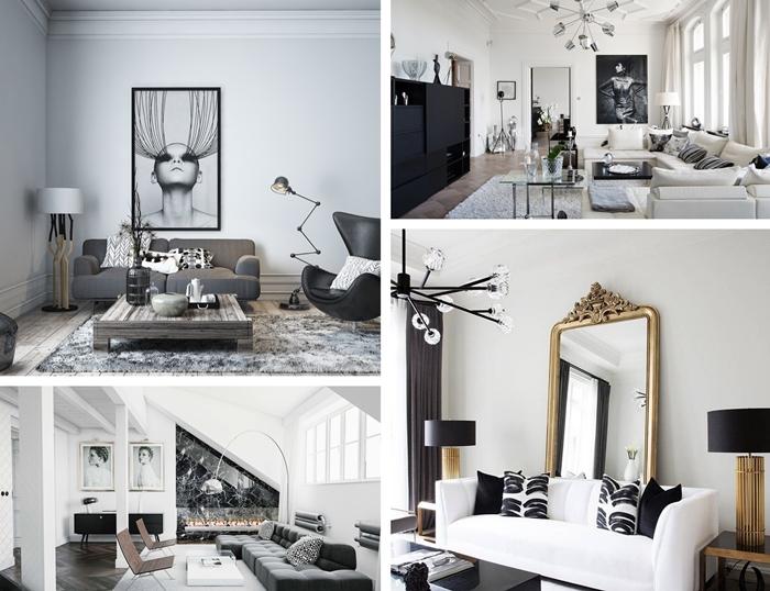 deco bois et blanc dans un salon moderne accents metal luminaire or tableau noir et blanc peinture murale salon
