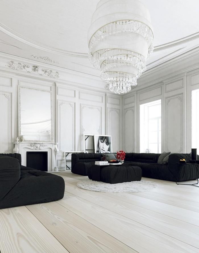 deco bois et blanc style minimaliste design intérieur canapé noir table noire tapis rond fausse fourrure blanche cheminée décorative