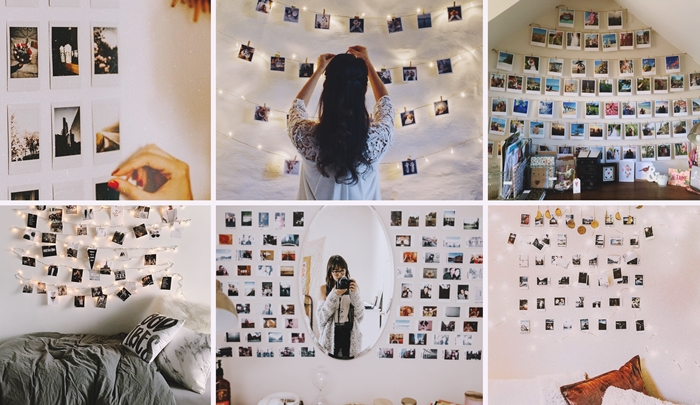 deco chambre ado guirlande lumineuse avec photos polaroid pinces bois collage mural miroir ovale