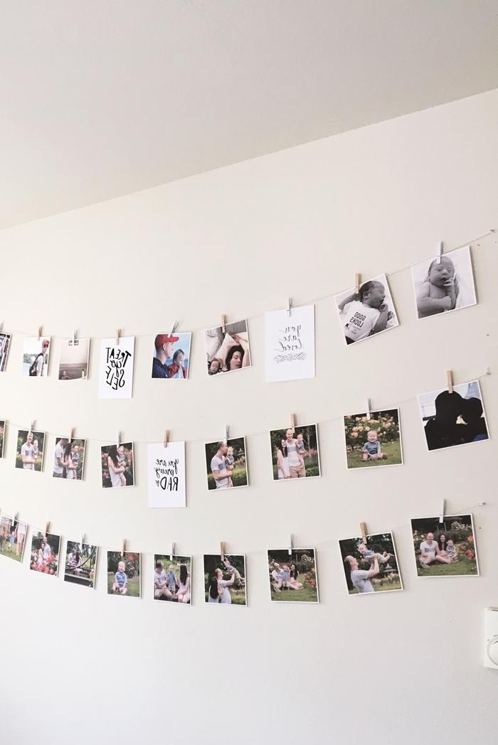 deco mur blanc activité manuelle facile fabrication guirlande de photos famille décoration à fabriquer soi même pinces bois