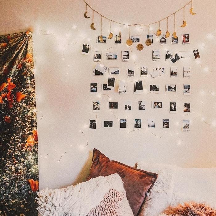 deco murale originale guirlande lumineuse photos polaroid coussins décoratifs tapisserie murale motifs floraux déco chambre boho