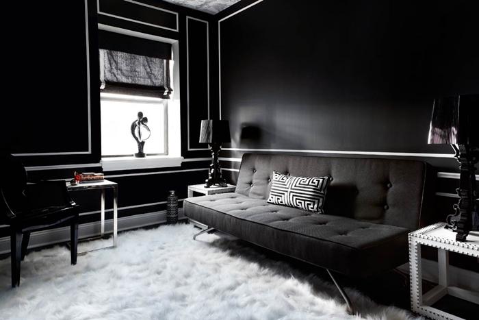 deco noir et blanc design intérieur peinture murale foncée salon noir peinture tapis moelleux blanc canapé boutonné gris anthracite