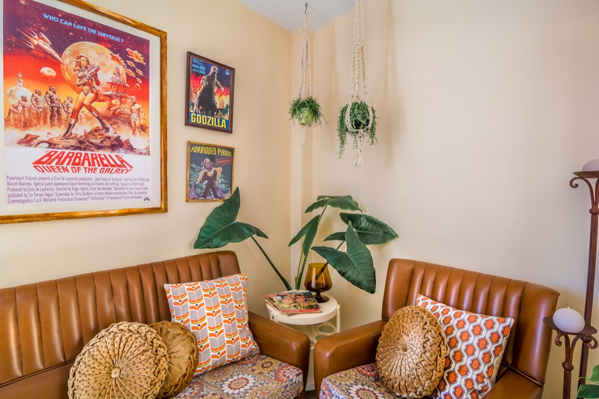 deco vintage chic motif année 70 canapé et fauteuil en cuir coussins decoratifs originaux plante verte deco murale d affiches