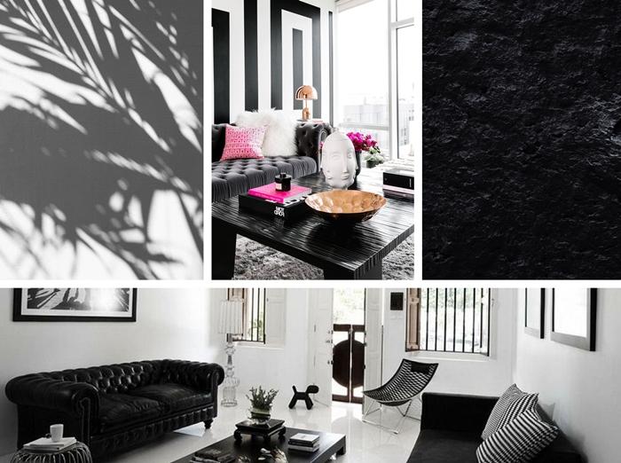 decoration interieure comment amenager un salon noir et blanc de style moderne accessoires rose motifs rayures blanc noir