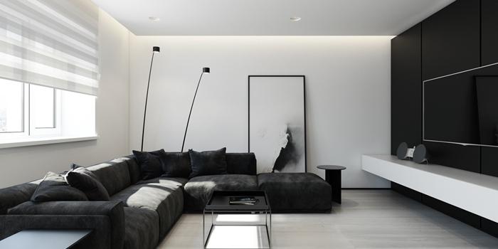 decoration mur interieur salon minimaliste tableau photographie blanc et noir lampe sur pied noire spots led plafond