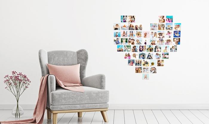 decoration murale avec photos en forme de coeur fauteuil gris coussin rose pastel