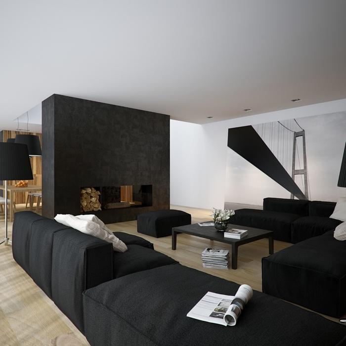 design intérieur moderne style contemporain salon bois et blanc meubles noirs canapé table basse noire cheminée moderne