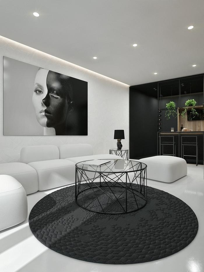 design intérieur style contemporain éclairage moderne spots led peinture noir et blanc déco salon ouvert vers cuisine
