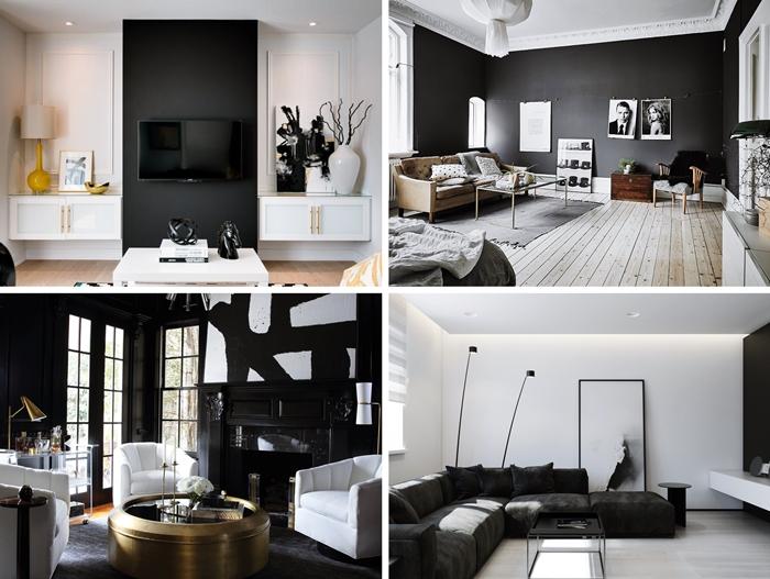 design salon blanc et noir peinture pan de mur cheminee noire mur foncee peinture moderne salon blanc meubles