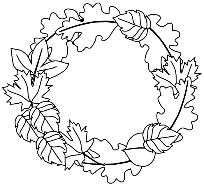 dessin à imprimer et colorer facile pour enfants page à colorier avec feuilles en couronne automne dessin feuille automne