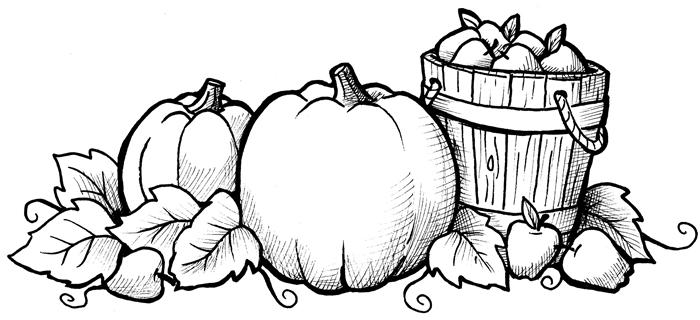 dessin au crayon blanc et noir motifs citrouilles feuilles séchées fruits saison nature feuille d automne à colorier page