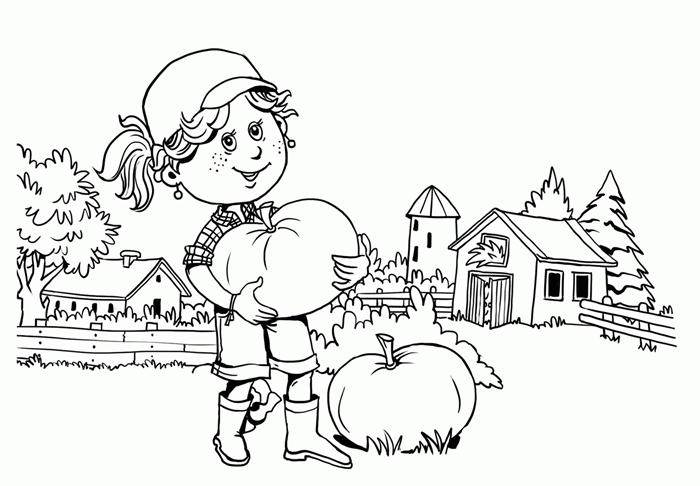 dessin automne mignon à colorier paysage nature forêt maison bois promenade fille citrouille sapin arbre nature automne
