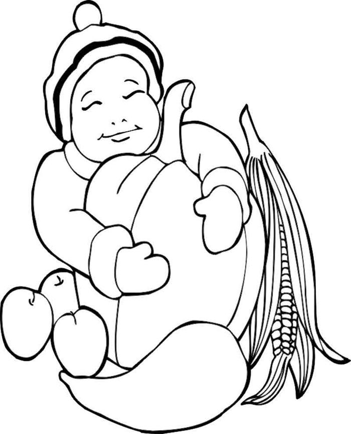 dessin automne simple à colorier pour enfant coloriage petit garçon avec grosse citrouille géante pommes blé automne