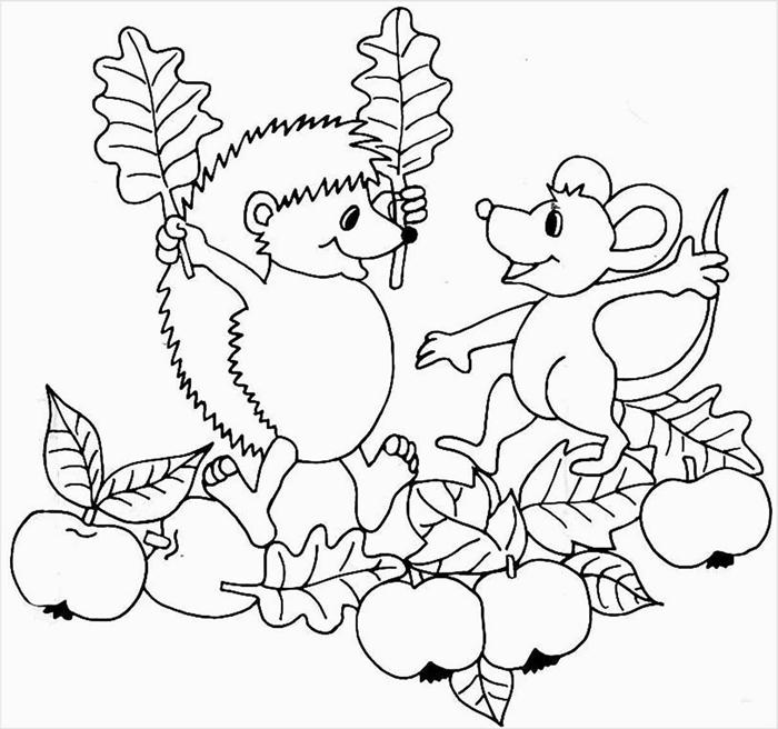 dessin d automne facile à colorier dessin à imprimer animaux de forêt nature automne fruits feuilles séchées amitié hérisson