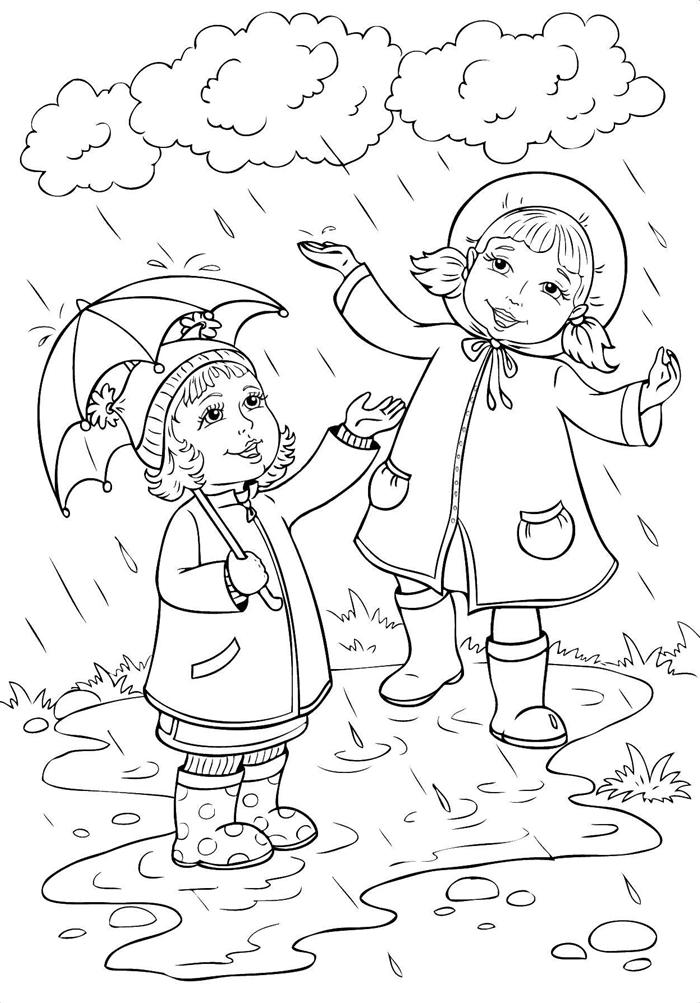 dessin d automne jeux d enfant sous pluie nuages ciel parapluie petites filles promenade pluie bonnet robe herbe nature