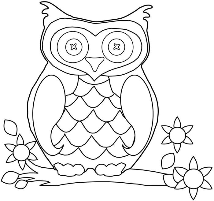 dessin facile blanc et noir à imprimer animal forêt automne nature fleurs feuilles séchées arbre branche coloriage hibou