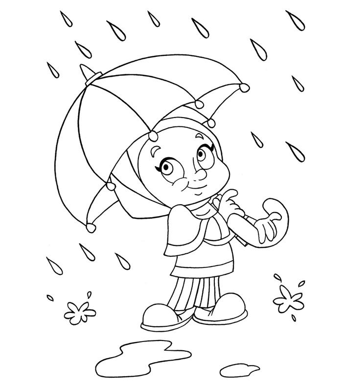 dessin simple à imprimer et colorer idée de coloriage de fille facile automne saison nature pluie parapluie fille bottes