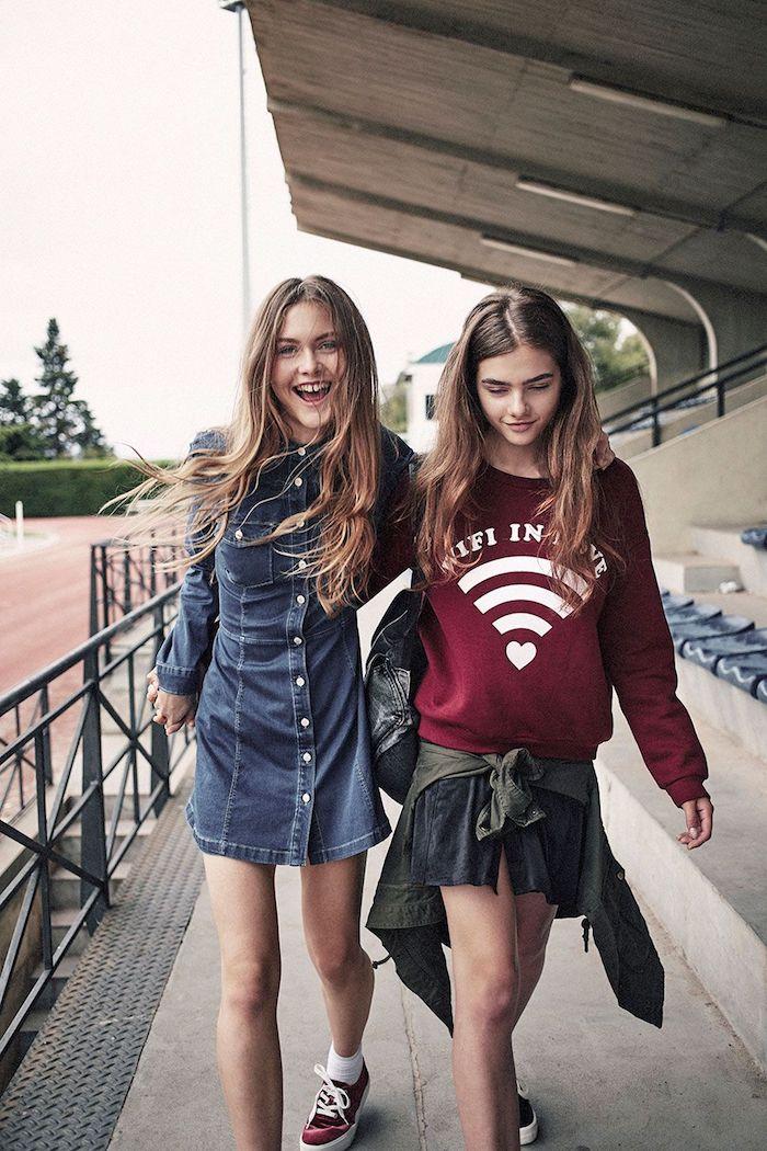 deux amies wifi est la vie blouson rouge vetement ado fille mes tenues pour la rentrée cool idée vetements swag salopette en jean