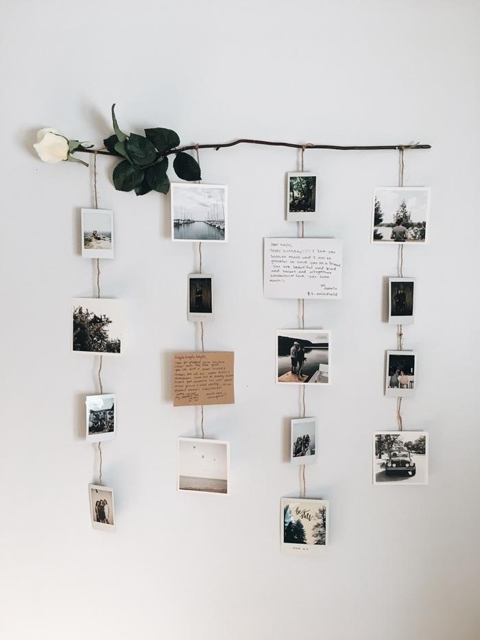 diy suspension murale bricolage activité manuelle facile que faire avec ses photos deco mur blanc rose blanche guirlandes phots