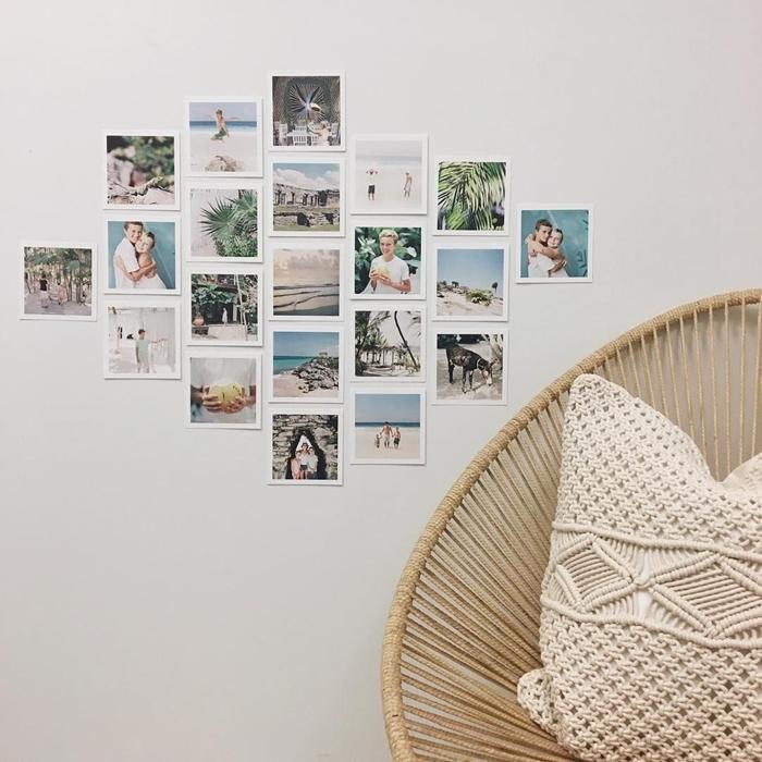 fauteuil chaise rotin coussin macramé blanc noeud corde macramé deco mur blanc avec collage photos famille voyage