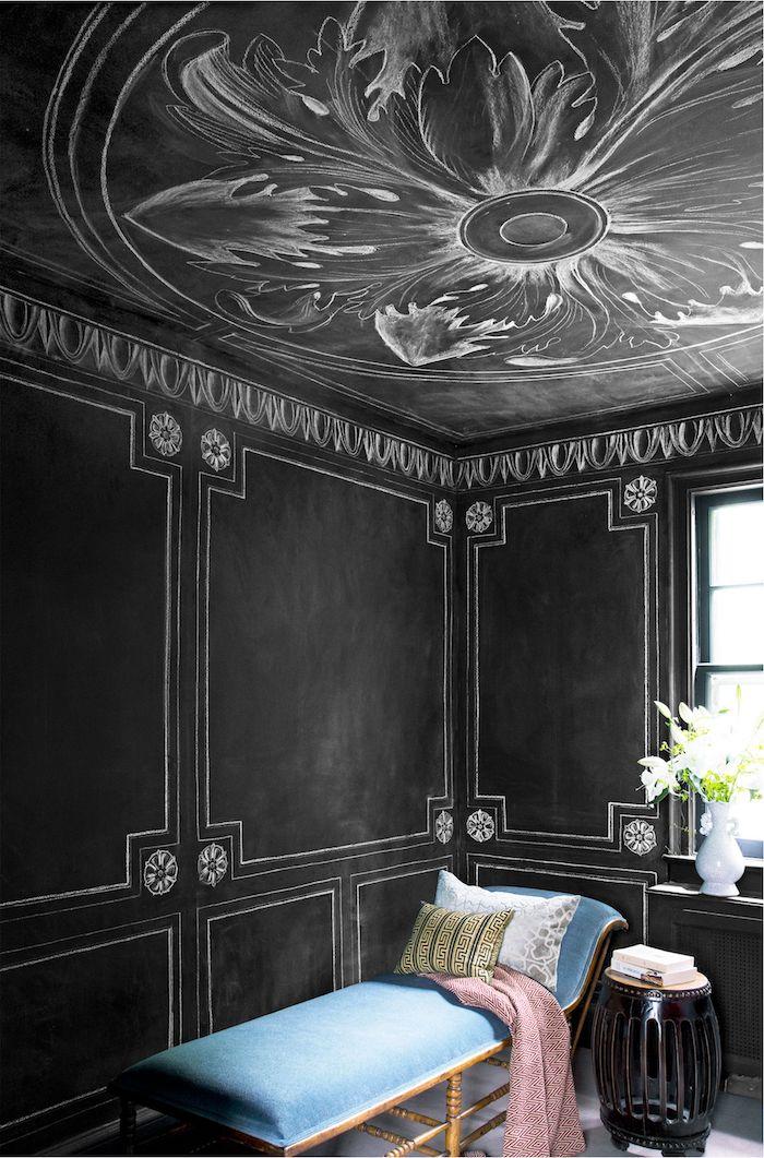 fleur sur le plafond noir dessin originale maison lux repeindre un plafond idée peinture plafond couleur maison