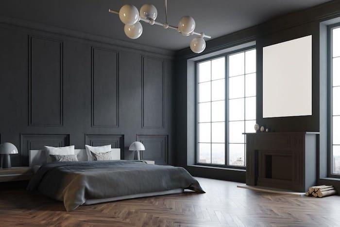 gris mur et plafond moderne chambre homme simplicité peinture plafond noir decoration plafond dans une maison ou appartement