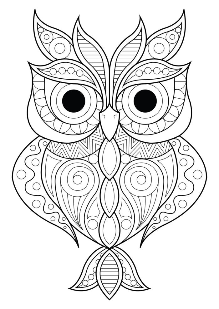 hibou mandala art thérapie coloriage hibou dessin à imprimer et colorer pour adultes hibou animal forêt nature automne coloriage d'automne