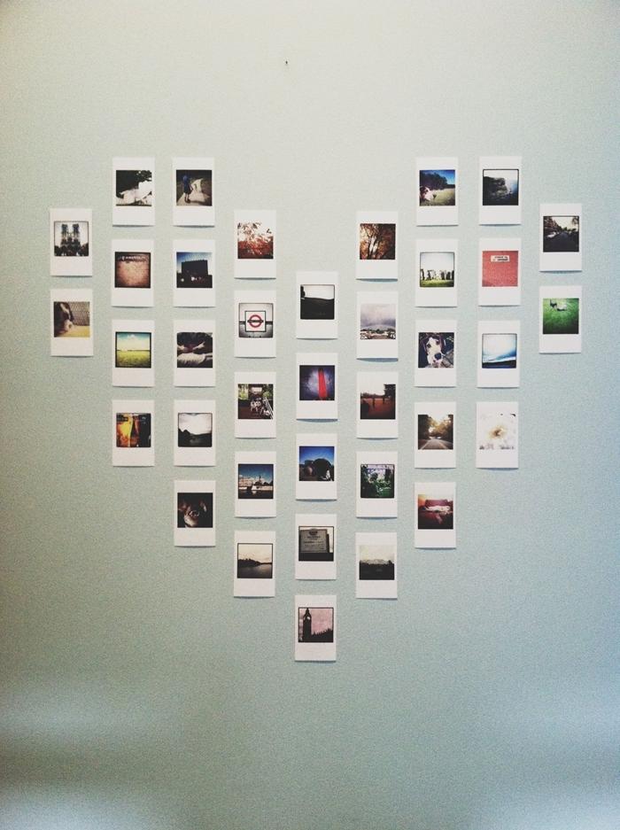idée décoration murale diy coeur en photo polaroid que faire avec ses photos design intérieur mur blanc photos voyage