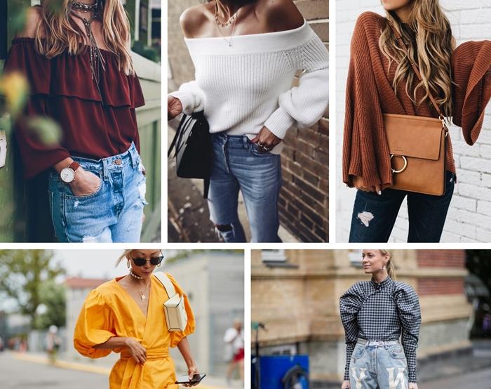 idée tenue femme jeans déchirés montre marron pull blanc épaules dénudées manches chauve souris robe manches bouffantes jaune décolleté en v sac à main cuir noir
