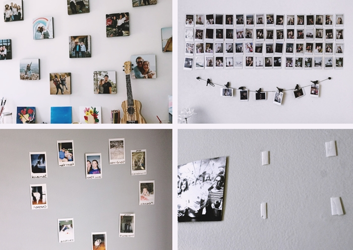 idee comment coller des photos au mur sans faire des trous collage photo deco mur blanc