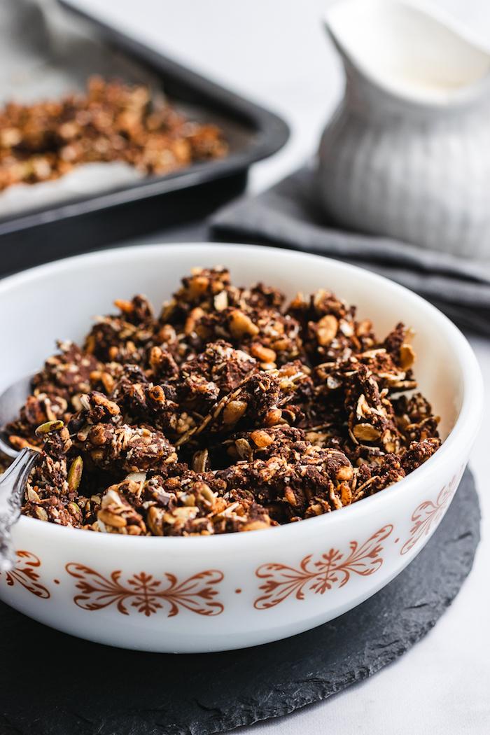 idee de recette granola maison aux flocons a voine cacao chocolat graines café idee de recette granola chocolat