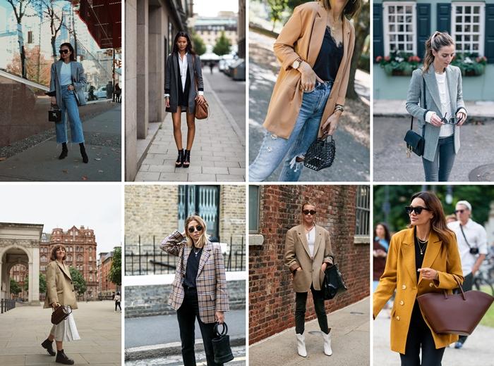 idee de style vestimentaire femme blazer jaune oversized jeans femme blazer long gris anthracite lunettes de soleil accessoires sac à main bracelets montre blouse blanche