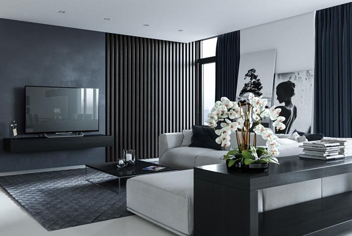 idee deco salon tapis moelleux gris motifs héxagonaux canapé d angle blanc table basse salon noire peinture gris anthracite