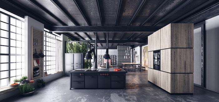 ilot cuisine industriel grand meuble bois rangement repeindre un plafond idée peinture plafond couleur maison fenetre lumiere naturelle