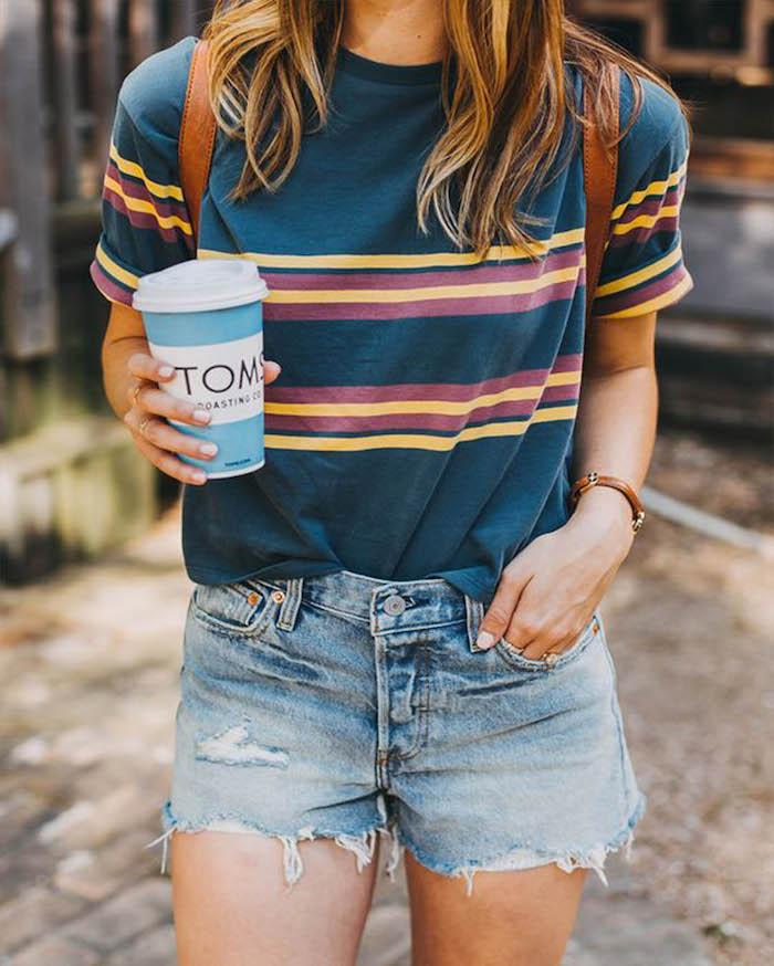 jean court et t shirt raye cool fille de 14 ans belle combiner les differents vetements pour belle tenue