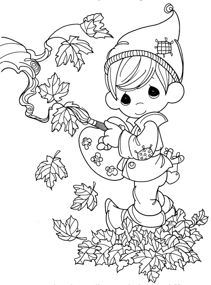 jeu elf garçon chapeau peinture art activité créative coloriage d automne pour enfant feuilles séchées pinceau coeur