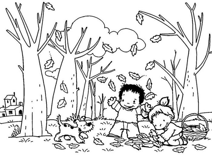 jeux d enfants qui ramassent des fleurs d automne séchées petit chien coloriage paysage saison arbres feuilles garçon fille amitié