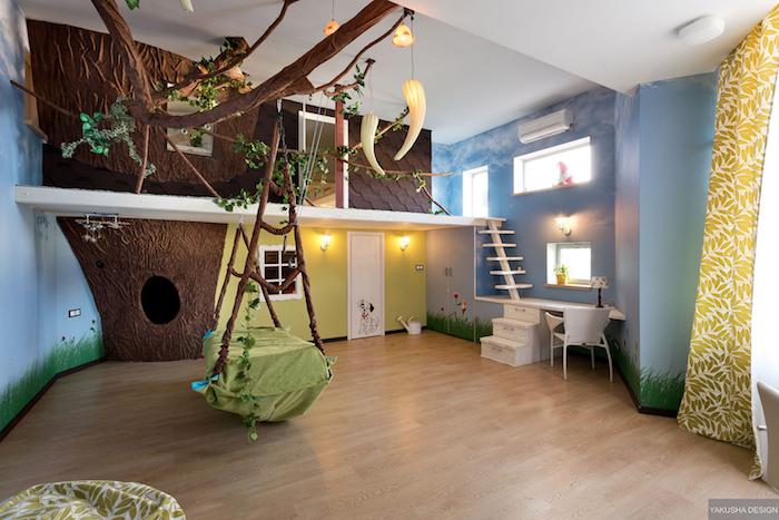 jungle thème chambre bleu mur liane balancoire bac rangement jouet idée rangement chambre fille inspiration