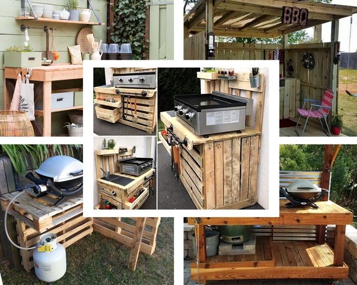 meuble de rangement diy en pallette recycle agencement petite cuisine d ete en bois bricolage table barbecue exterieur materiaux recuperation