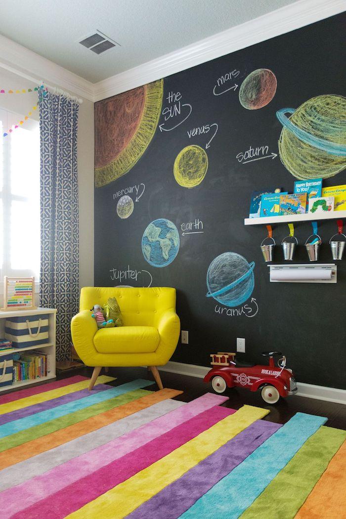 meuble de rangement enfant salle de jeux pour enfants mur ardoise avec dessins idée déco salle de jeux pour créer et jouer