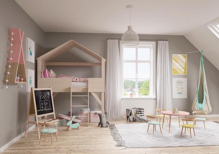 meuble enfant ikea salle de jeux enfant amusement bois maison deuxieme etage lit cool idee