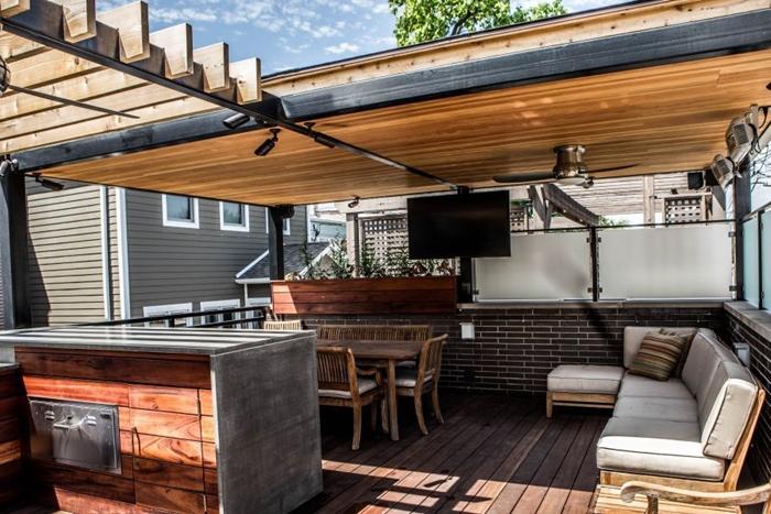 meubles extérieur banquette bois agencement de cuisine exterieure avec îlot aspect bois et béton meubles table à manger bois brut
