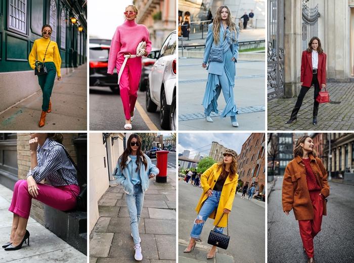 mode automne 2020 pull rose fucshia pantalon fluide manteau long couleur jaune tendance automne jeans denim slim pochette blanche baskets femme
