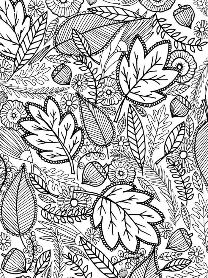 motifs mandala art thérapie antistress activité relaxation coloriage feuille d automne pour adultes dessin détails élements feuilles