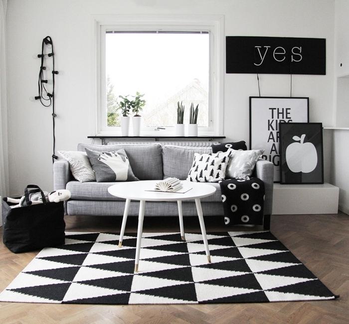 mur de cadres noir et blanc plantes vertes d intérieur canapé gris clair table basse blanche salon bois et noir guirlande lumineuse