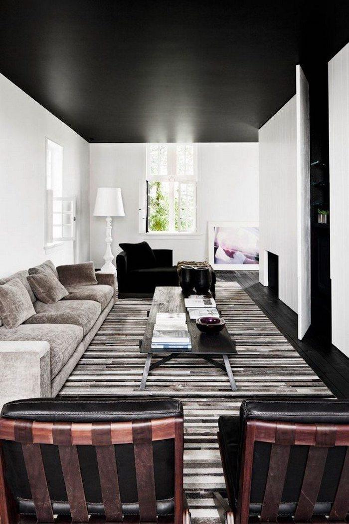 noir canapé en angle et gris canapé trois personnes grand salle de sejour en l plafond decoratif comment associer le noir couleur mural