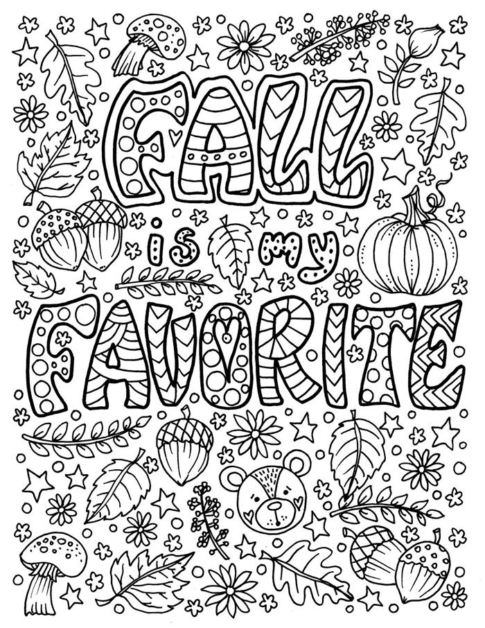 page à colorier dessin feuille d automne blanc et noir lettres automne saison favorite motifs automne citrouilles ours champignons