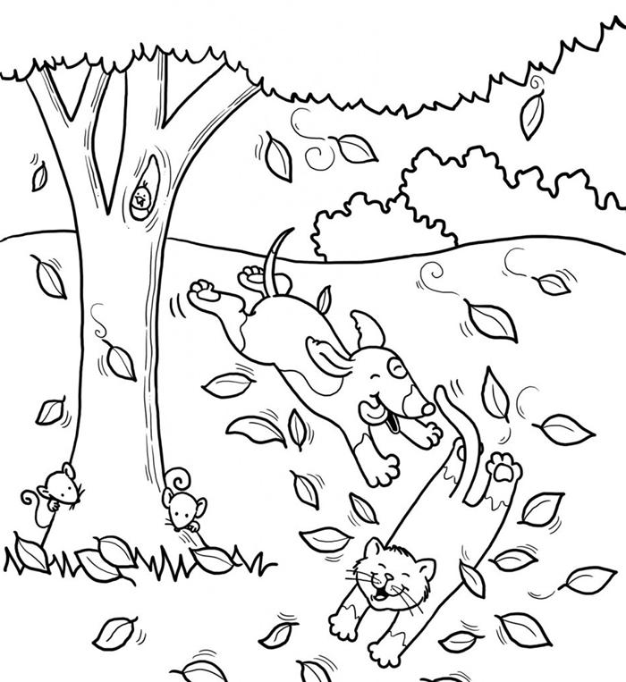 page de coloriage simple pour enfant arbre automne dessin occupation maternelle activité amusante dessin chat chien amitié